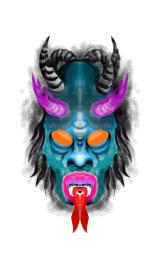 blue demon face