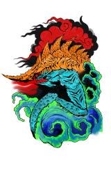 kaiju blue and orage